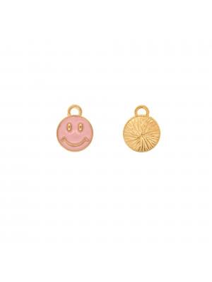 Ciondolo a forma di tondo con SMILE, 10x12 mm., colore Oro Lucido, colore smalto Rosa