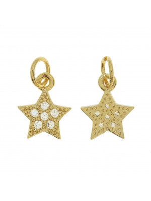 Ciondolo a forma di stella, con strass Crystal, 11x9 mm., base in metallo colore Oro Lucido