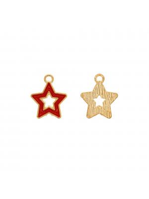 Ciondolo a forma di stella, forata, 14x16 mm., colore base Oro Lucido, colore smalto Rosso