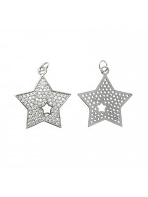 Ciondolo a forma di stella, con foro a forma di stella, strass Crystal, 24x22 mm., base in metallo colore Argento Rodio
