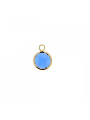 Ciondolo in colore Oro Lucido con pietra tonda centrale Capri Blue
