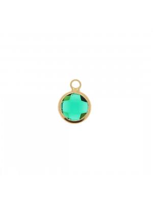 Ciondolo in colore Oro Lucido con pietra tonda centrale Emerald