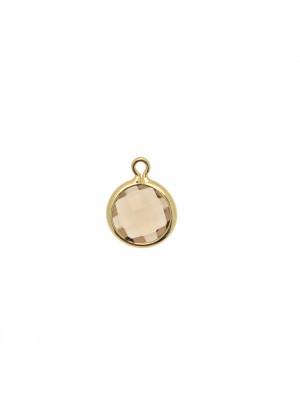 Ciondolo in colore Oro Lucido con pietra tonda centrale Smokey Quartz