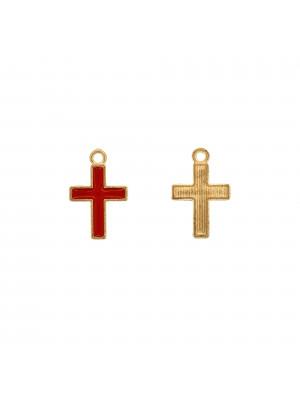 Ciondolo a forma di Croce, 11x16 mm., colore smalto Rosso