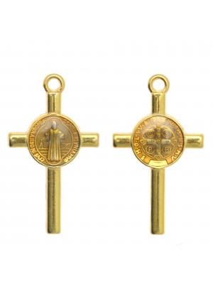 Ciondolo a forma di Croce con elemeno al centro, 13x23 mm., base Oro Lucido, colore smalto Topazio