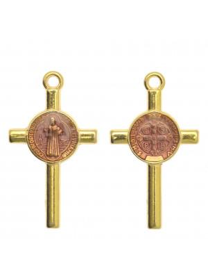 Ciondolo a forma di Croce con elemeno al centro, 13x23 mm., base Oro Lucido, colore smalto Ametista Chiaro