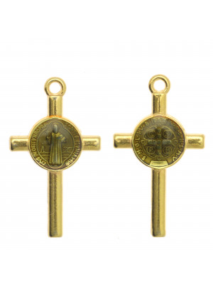 Ciondolo a forma di Croce con elemeno al centro, 13x23 mm., base Oro Lucido, colore smalto Grigio