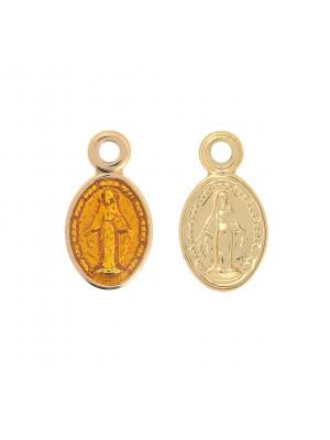 Ciondolo a forma di medaglia con Madonnina, 11x8 mm., colore Oro Lucido, colore smalto Topazio