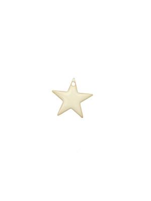 Ciondolo a Stella, 12x12 mm., smaltato Bianco