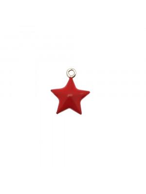 Ciondolo a Stella tridimensionale, 12x15 mm., smaltato Rosso