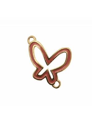 Ciondolo smaltato a doppio anello a forma di farfalla, base oro lucido, 25x23 mm.