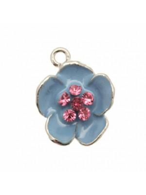 Ciondolo smaltato con strass a forma di fiore grande con pistillo a 6 strass 20 mm. Base Argentato Rodio