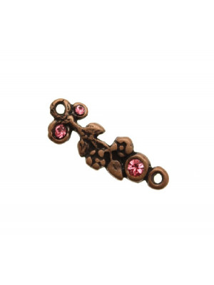 Ciondolo smaltato a forma di ramo di fiori con 3 strass e con 2 anelli 30x10 mm. Base rame antico