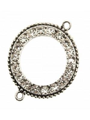 Cerchio piatto forato dentro con 2 anelli e strass crystal nel contorno, 40 mm.
