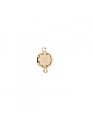 Elemento a due anelli, 14x8 mm., in colore Oro Lucido con pietra tonda centrale Smokey Quartz