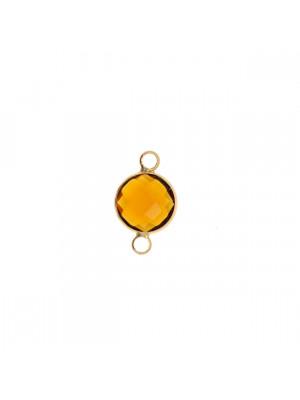 Elemento a due anelli, 17x11 mm., in colore Oro Lucido con pietra tonda centrale Smoked Topaz