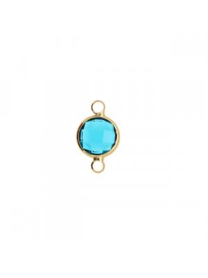 Elemento a due anelli, 17x11 mm., in colore Oro Lucido con pietra tonda centrale Indicolite