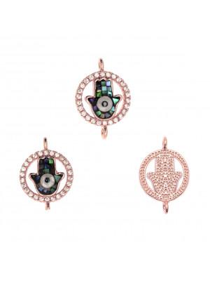 Elemento a doppio anello, con strass Crystal+mano di Fatima, 12x18mm., base in metallo colore Oro Rosa
