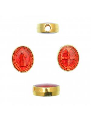 Distanziatore ovale con Santo, 8x10 mm., base Oro Lucido, colore smalto Rosso Amaranto