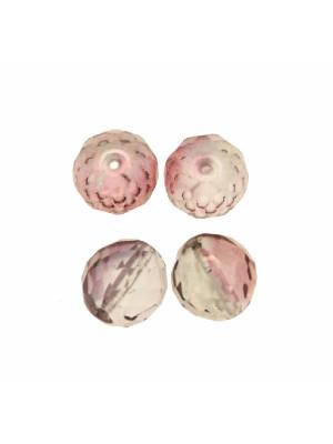 Mezzo cristallo colore Rosa antico sfumato in verde trasparente