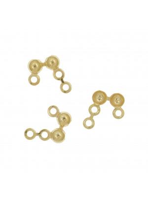 Coppetta chiudi nodo, doppia semi-sfera, con 2+1 anellini, diametro sfera 3,5 mm. Argento 925