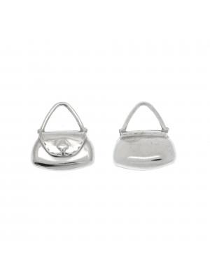 Ciondolo a forma di borsetta liscia triangolare 16x15 mm. in Argento 925