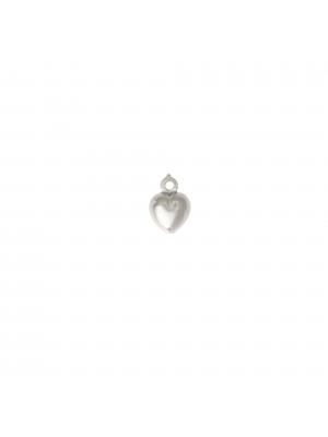 Ciondolo a forma di cuore bombato 6 mm. in Argento 925