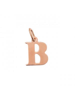 """Ciondolo a forma di lettera """"B"""", 10x14 mm., in Argento Rosato 925"""