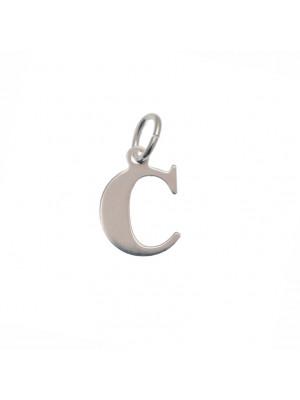 """Ciondolo a forma di lettera """"C"""", 10x14 mm., in Argento Lucido 925"""