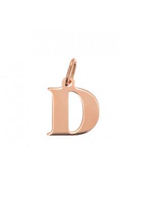 """Ciondolo a forma di lettera """"D"""", 12x14 mm., in Argento Rosato 925"""