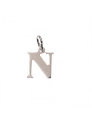 """Ciondolo a forma di lettera """"N"""", 10x14 mm., in Argento Lucido 925"""