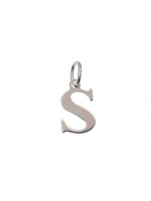"""Ciondolo a forma di lettera """"S"""", 9x14 mm., in Argento Lucido 925"""