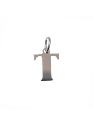 """Ciondolo a forma di lettera """"T"""", 10x14 mm., in Argento Lucido 925"""
