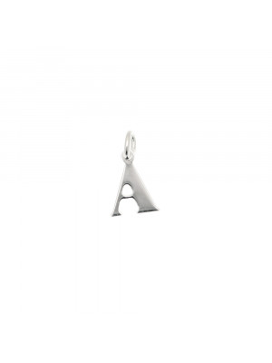 """Ciondolo a forma di lettera """"A"""", 7x10 mm., in Argento Lucido 925"""