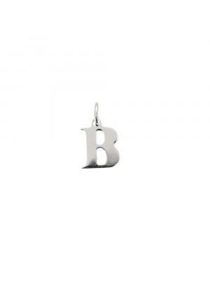 """Ciondolo a forma di lettera """"B"""", 8x10 mm., in Argento Lucido 925"""