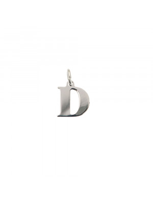 """Ciondolo a forma di lettera """"D"""", 9x10 mm., in Argento Lucido 925"""