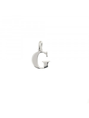 """Ciondolo a forma di lettera """"G"""", 8x10 mm., in Argento Lucido 925"""