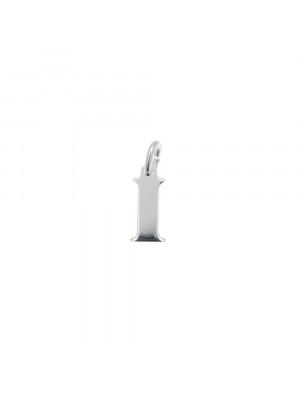"""Ciondolo a forma di lettera """"I"""", 4x10 mm., in Argento Lucido 925"""