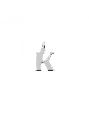 """Ciondolo a forma di lettera """"K"""", 8x10 mm., in Argento Lucido 925"""