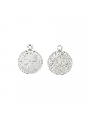 Ciondolo tondo a moneta austriaca, 15x12 mm., in Argento 925