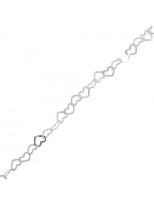 Catena composta da cuori sottili, 5,7x4,6 mm. in Argento 925