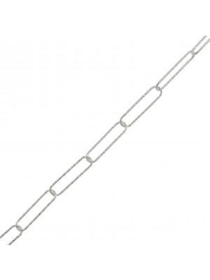 Catena rettangolare diamantata, 15x4mm. ARGENTO925