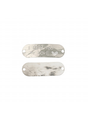 "Piastra per bracciale con scritta ""I GIVE YOU MY LOVE"", 40x13 mm. in Argento 925"