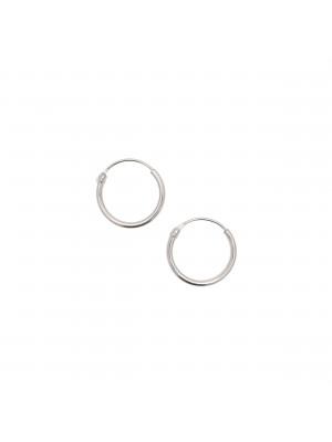 Cerchio per orecchino liscio, con chiusura ad incastro, 12 mm., in Argento925