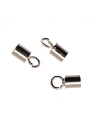 Terminale da incollo per cordoncino tubolare, con anello chiuso finale, 4x8 mm.