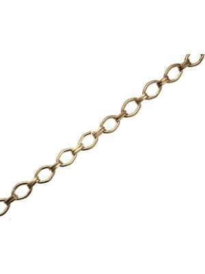 Catena a rombi, dimensione anello  7x11 mm., collegati tra loro da due anelli ovali 6x4 mm.