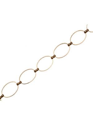 Catena ovale, formata da un anelli 20x14 mm., collegati da una maglia doppia
