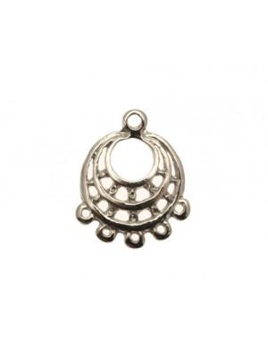 Base per orecchino a forma di tre cerchi concentrici, larga 20 mm., lunga 24 mm.