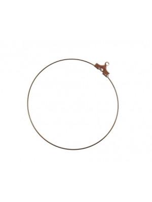 Cerchio per orecchino apribile per l'inserimento di perle, diametro 35 mm., con foro sotto