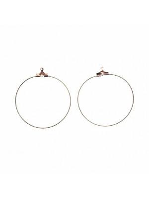 Cerchio per orecchino apribile per l'inserimento di perle, diametro 50 mm., con foro sotto